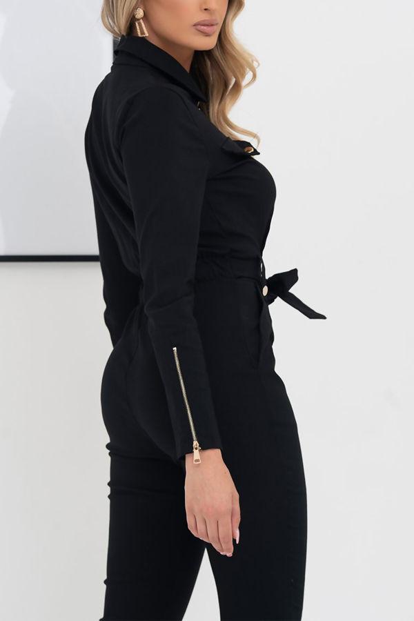 Black Zip Front Pocket Design Bengaline Jumpsuit With Belt
