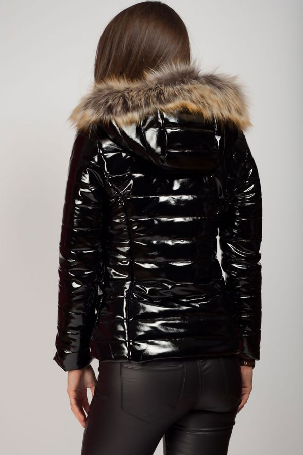 Black with Black Fur Shiny Hooded Jacket