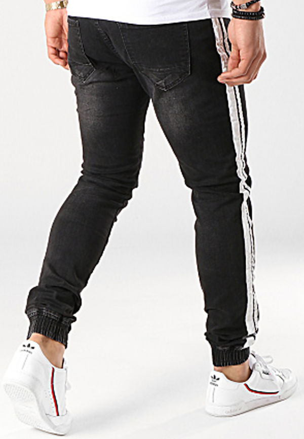 Black with White Tape Denim Joggers
