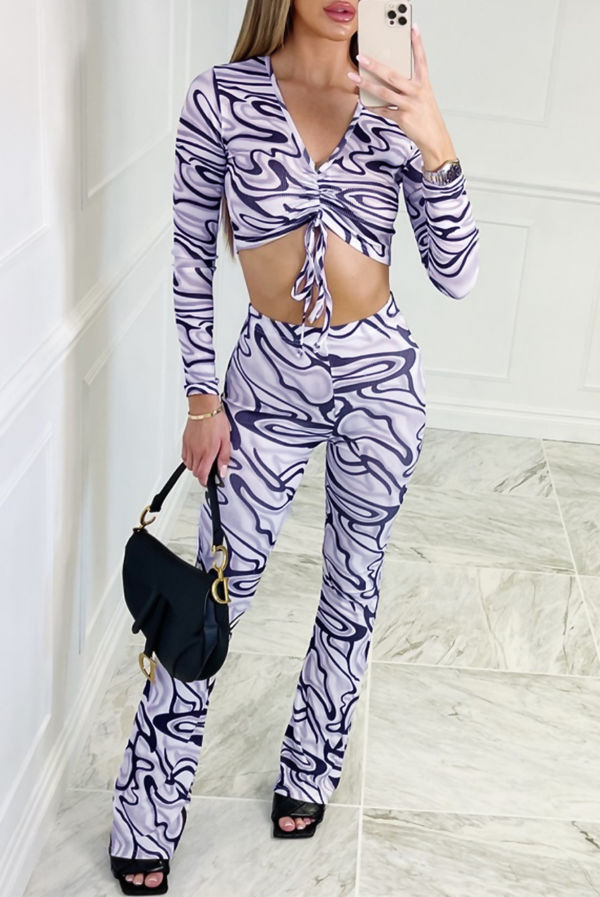 Black Abstract Print Ruched Top And Flared Pants Co-Ord