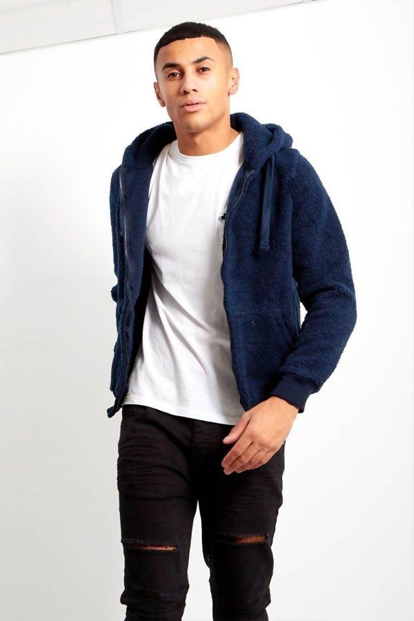Blue Borg Teddy Hood Jacket