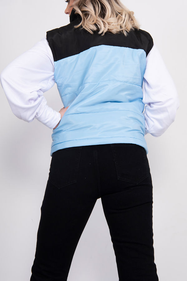 Blue Colourblock Puffer Gilet