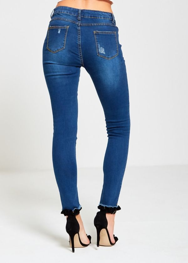Blue Denim Embroidered Distressed Skinny Jeans