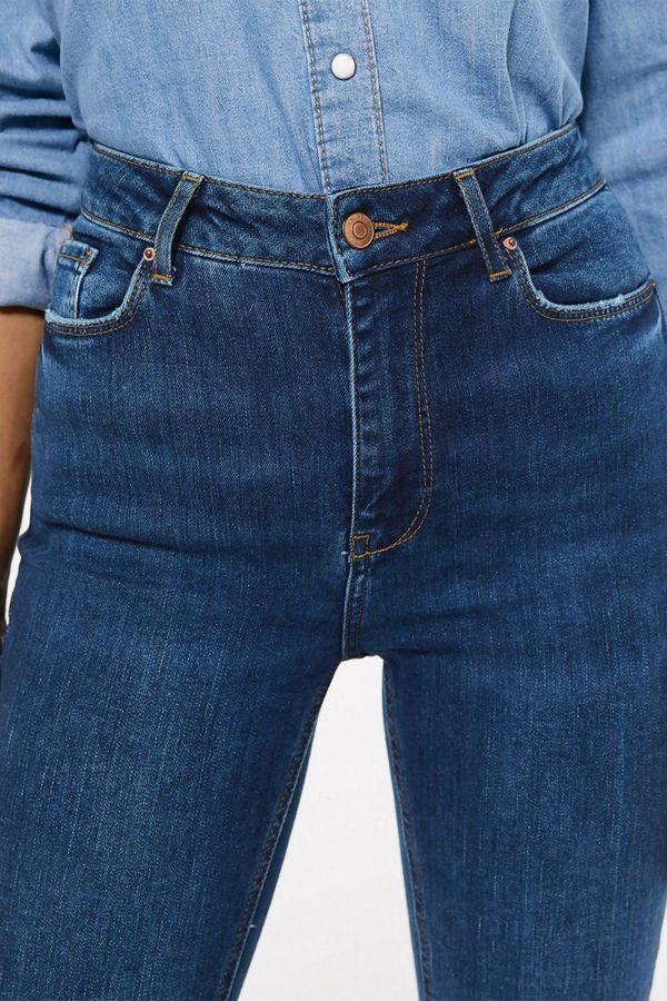 Blue Denim Skinny Fit Flared Jeans