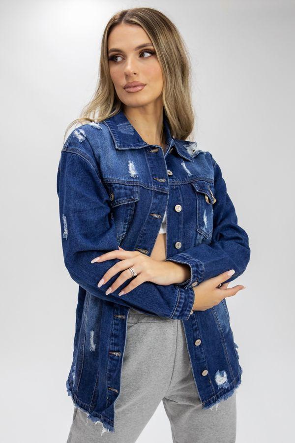 Blue Distressed Frayed Hem Denim Jacket