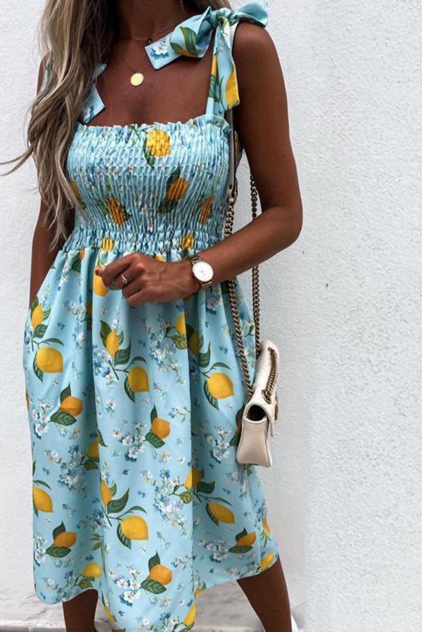 Blue Lemon Print Tie Shoulder Pocket Slip Dress