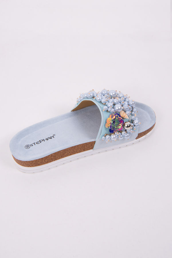 Blue Pearl & Shell Decor Platform Sandals