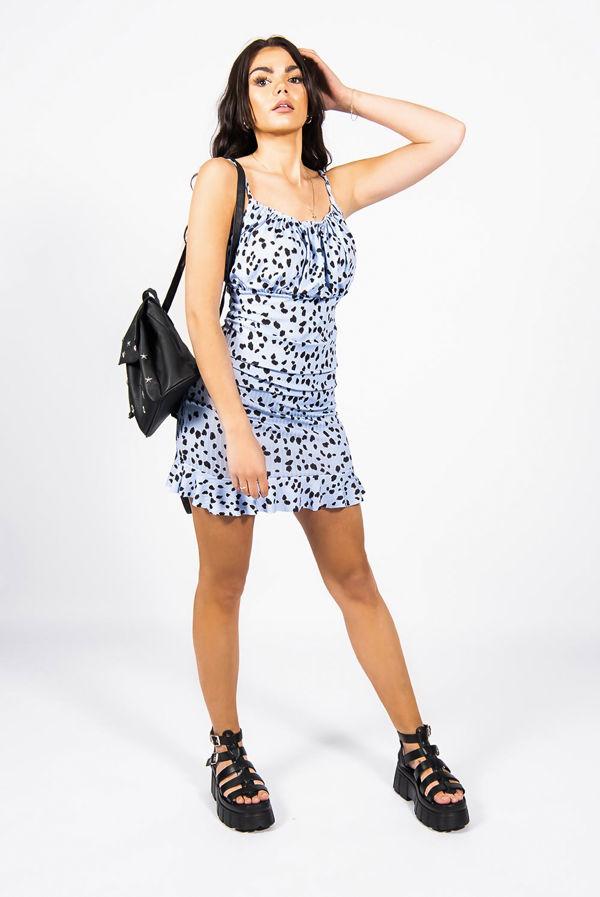 Blue Printed Ruched Bust Frill Hem Shift Dress