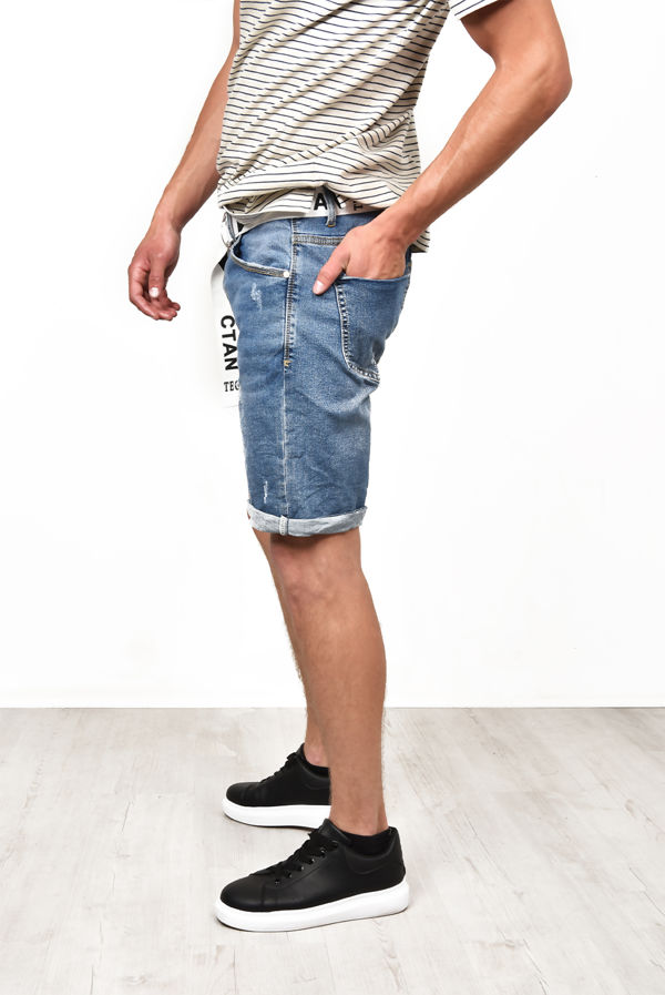 Blue Ripped Belted Denim Shorts With Turn Up Hem