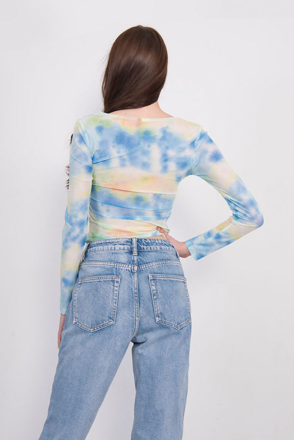 Blue Tie Dye Ruched Mesh Top