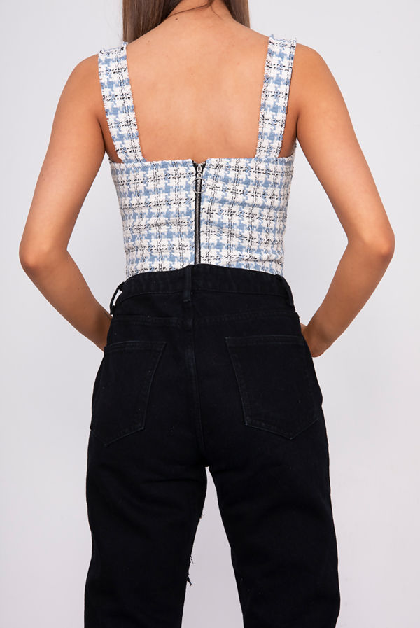 Blue Tweed Button Front Tank Top