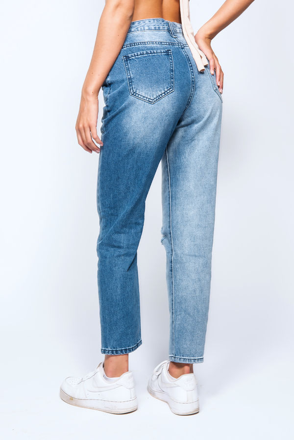 Blue Two Tine High Rise Ripped Mom Jeans