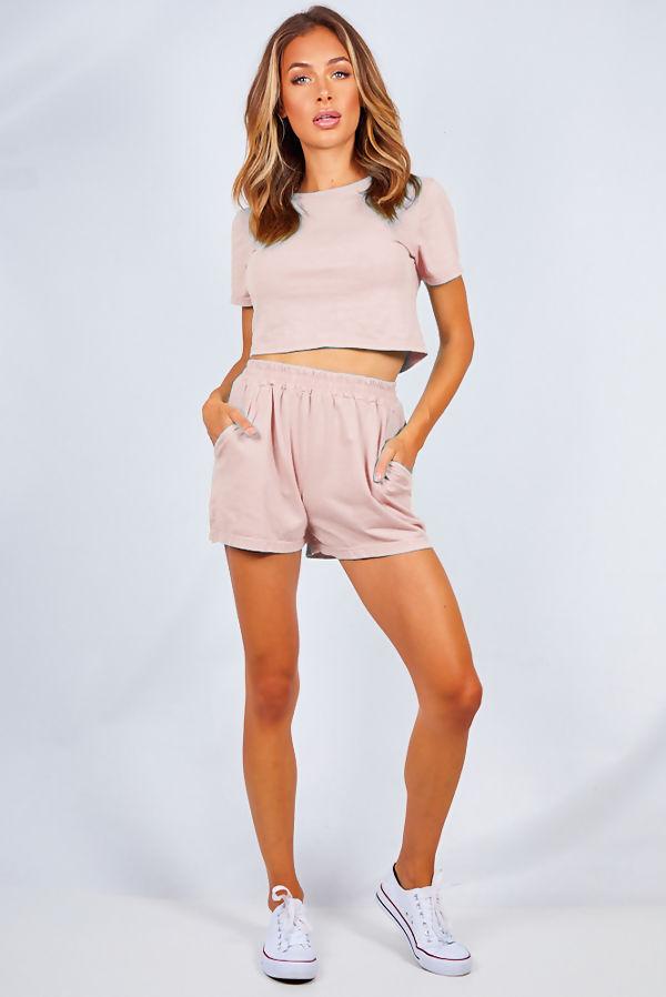 Blush Basic Shorts And Crop Top Lounge Set
