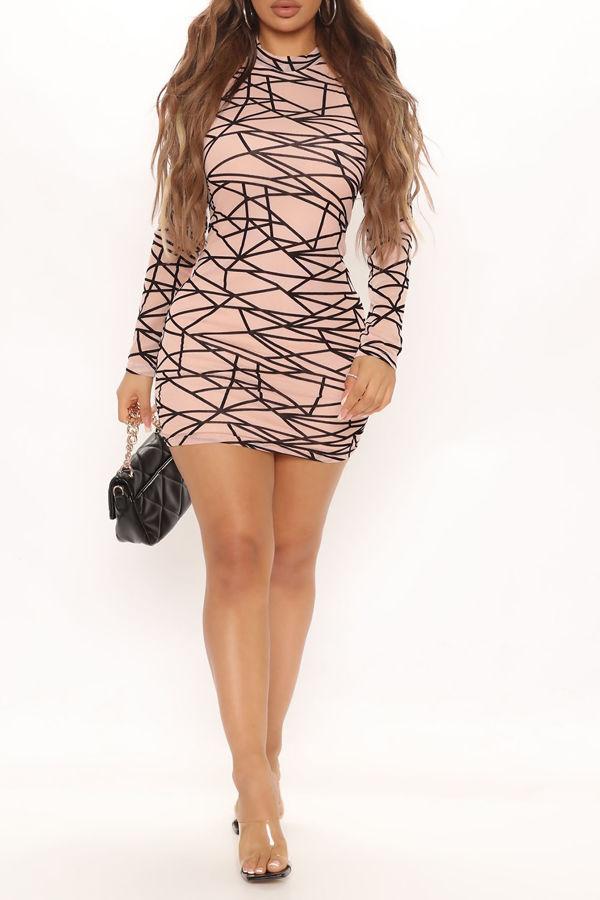 Blush Print Slinky High Neck Long Sleeve Bodycon Dress