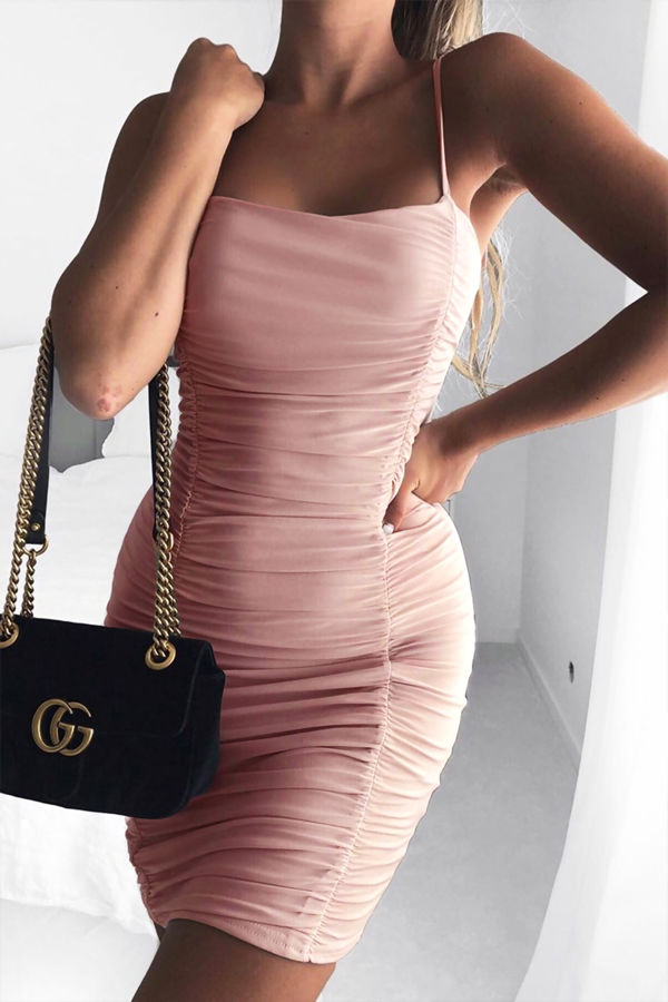 Blush Ruched Double Layer Slinky Cami Dress