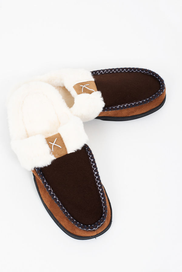 Brown Faux Fur Moccasin Slippers