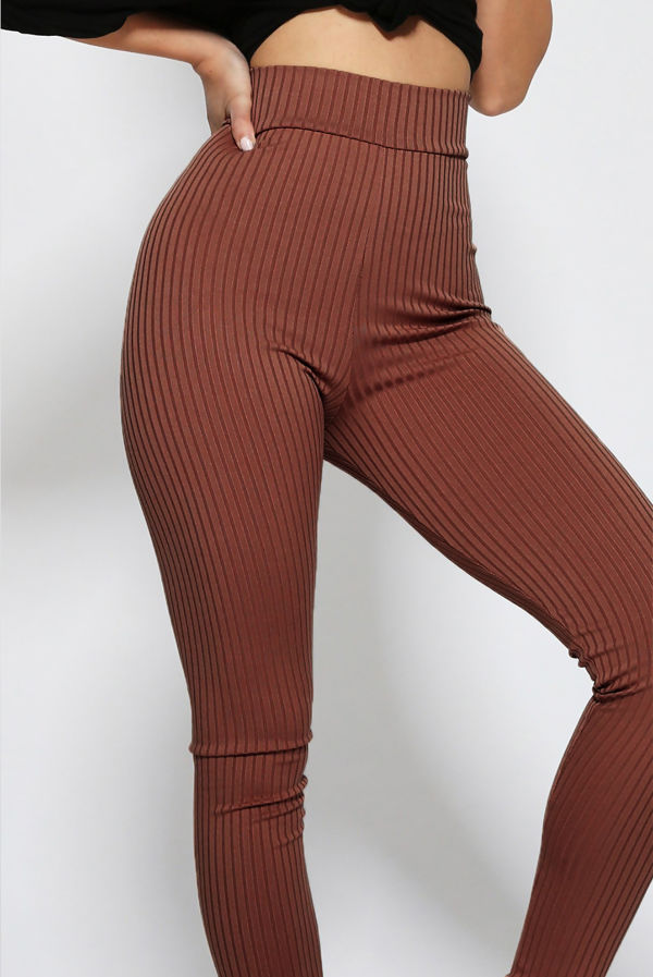 Brown High Waisted Ribbed Leggings