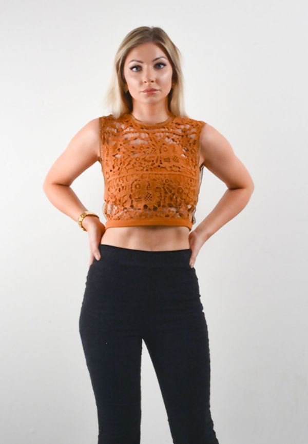 Khaki Floral Lace Overlay Crop Top
