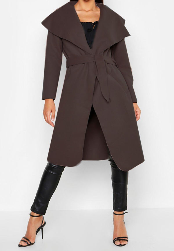 Brown Long Waterfall Duster Coat