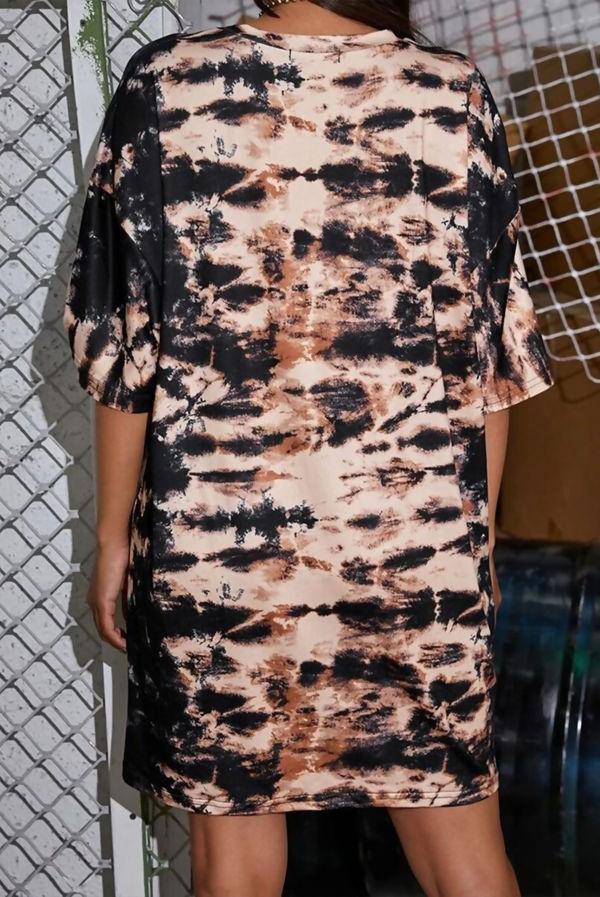 Brown Tie Dye Oversized T-Shirt Dress