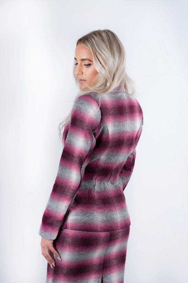 Brown Brushed Check Blazer And Skirt Set