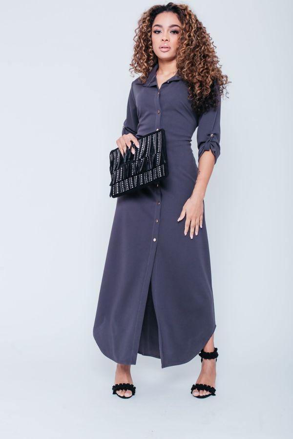 Button Detail Maxi Shirt Dress