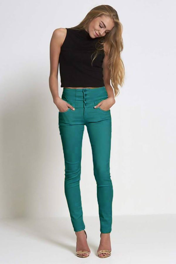 Button Up Corset Waist Green Skinny Jeans