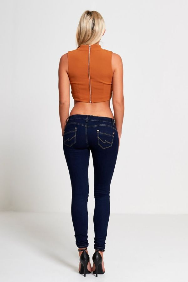 Camel Choker Neck Cropped Top