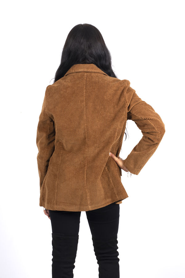 Camel Double Breasted Corduroy Blazer