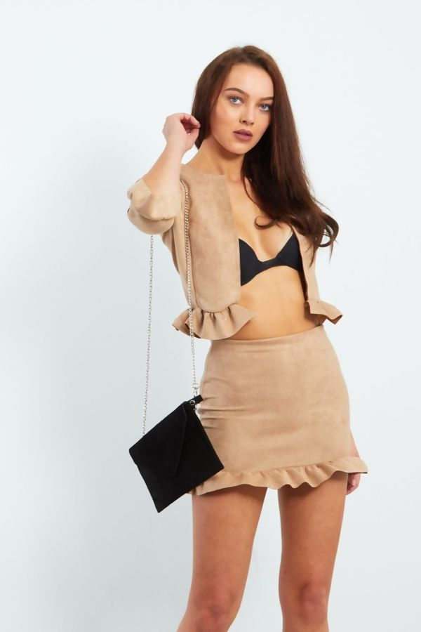 Camel Faux Suede Frill Hem Jacket And Mini Skirt Co-ord