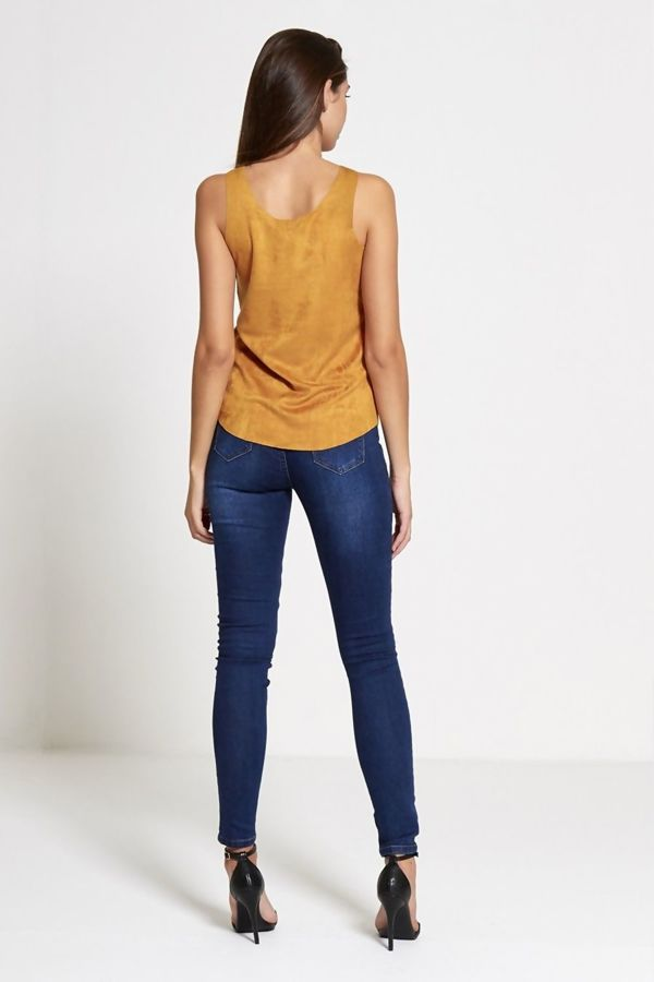 Camel Faux Suede Sleeveless Top