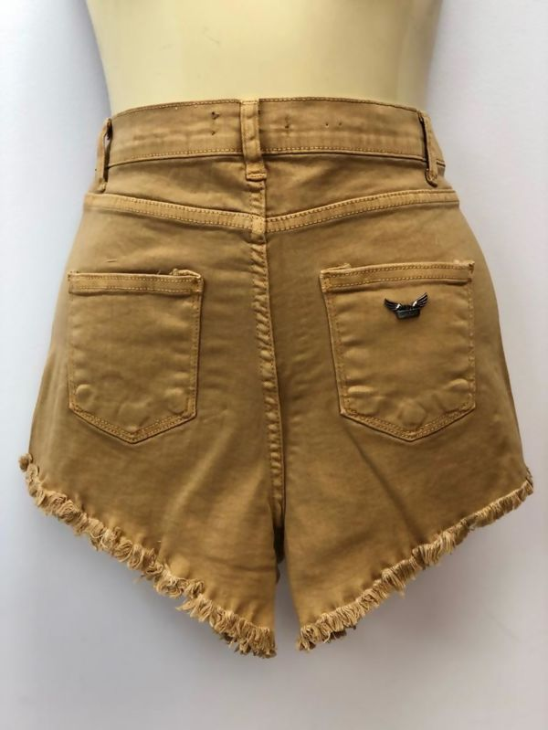 Camel High Waist Frayed Hem Denim Shorts