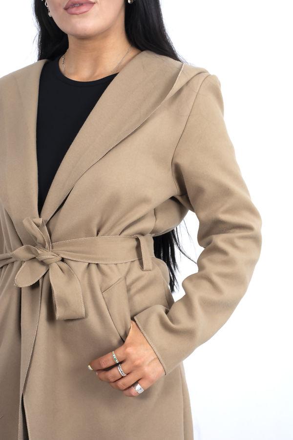 Camel Hooded Belted Shawl Coat