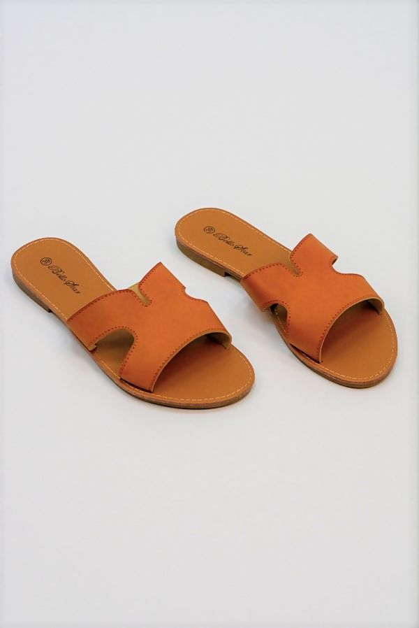 Camel Leather Flat Slip On Slider