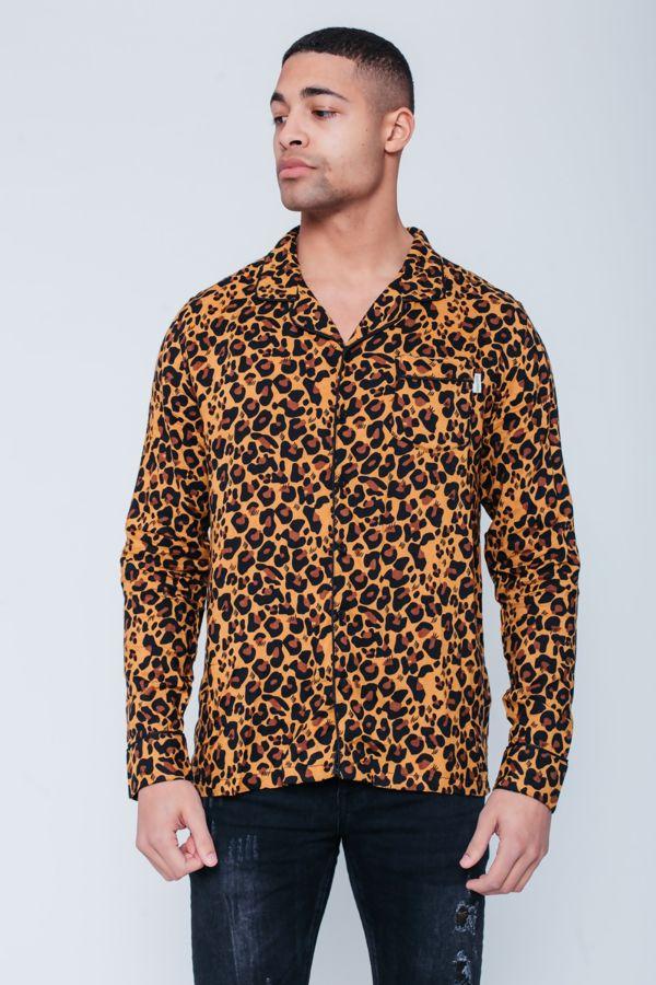 Camel Leopard Print Shirt