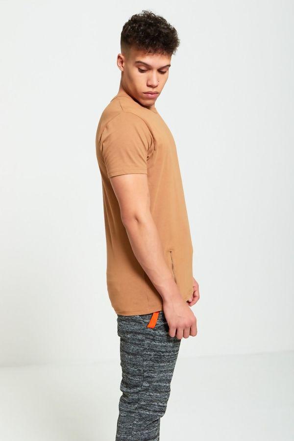 Camel Longline Zipper T-Shirt