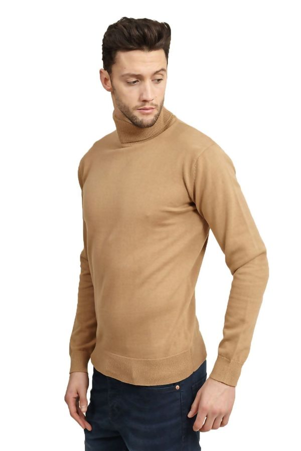 Camel Polo Neck Jumper