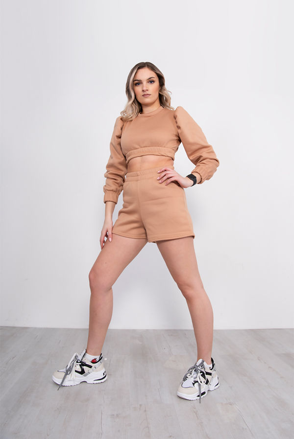 Camel Puff Sleeve Cropped Top And Short Lounge Set