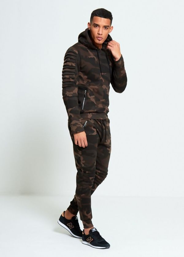 Camo Biker Ribbed Padding Skinny Fit Tracksuit