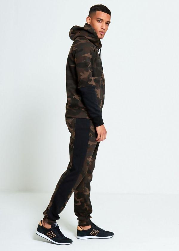 Camo Black Panel Skinny Tracksuit