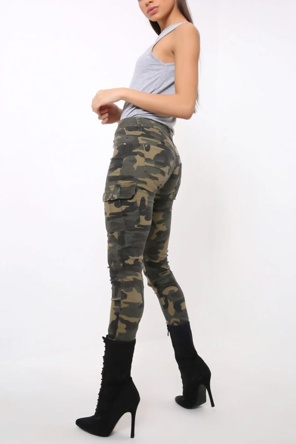 Camo Cargo Styled Skinny Fit Jeans