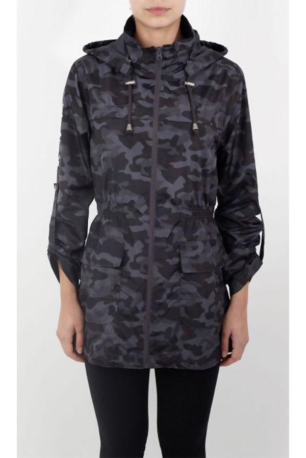 Camo Drawcord Fishtail Rain Coat