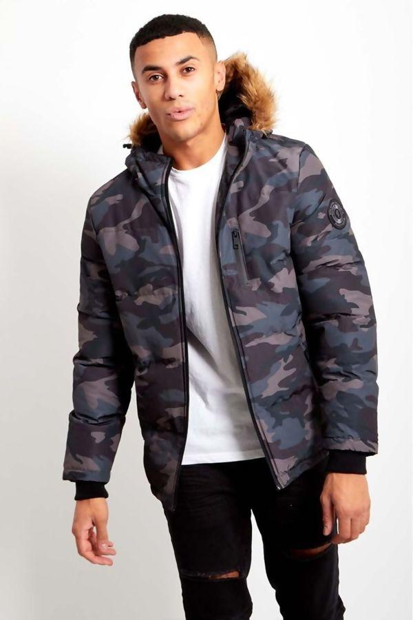 Camo Grey Fur Hood Parka