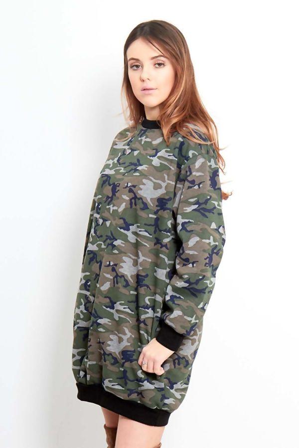 Camo Print Oversized Pocket Sweat Dress