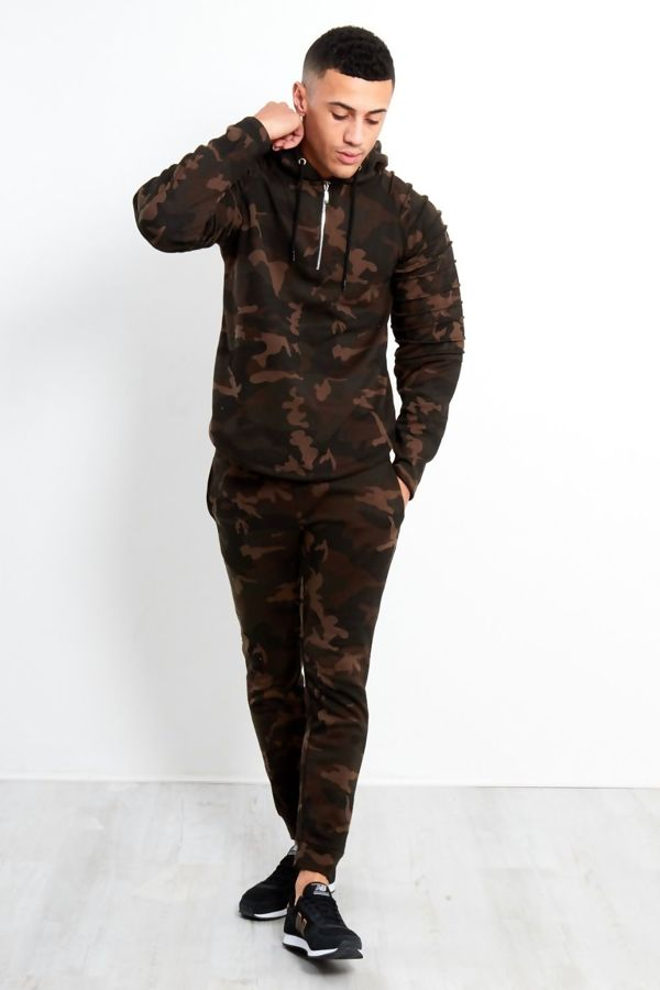 Camo Ribbed Panel Skinny Fit Tracksuit