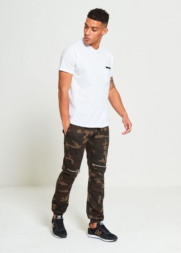 Camo Ribbed Zipper Jogging Bottom