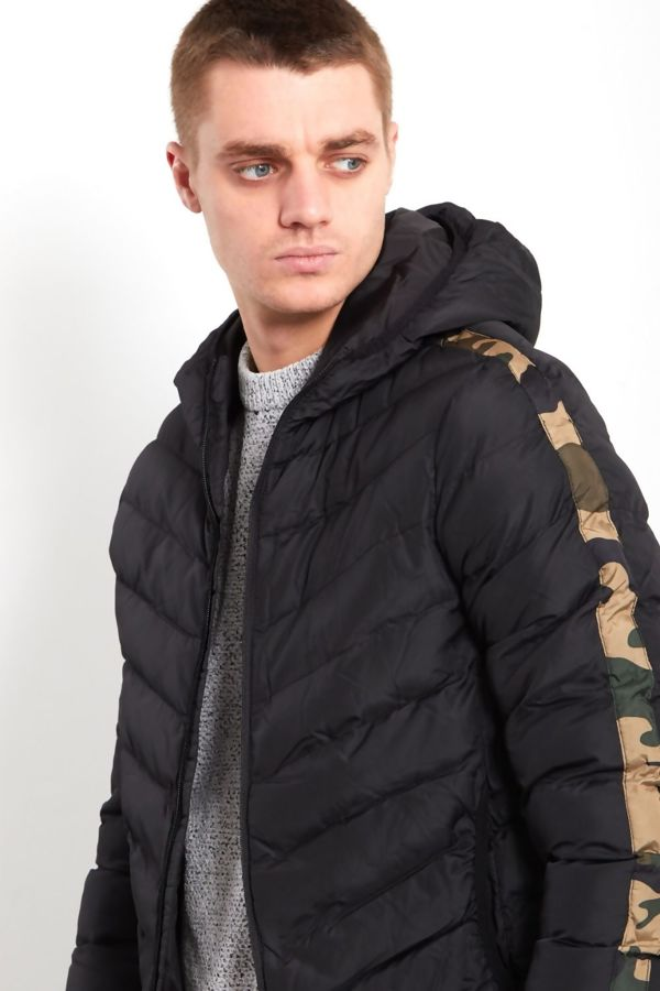 Camo Tape Puffer Bomber Jacket