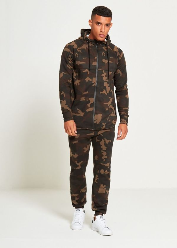 Camo Zip Up Hodded Tracksuit