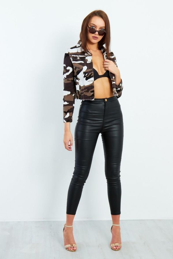 Camouflage Frayed Hem Cropped Jacket