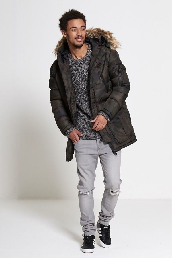 Camouflage Print Quilted Parka Coat
